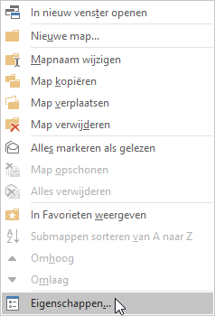 map delen in outlook eigenschappen