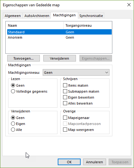 map delen in outlook gebruikers en machtigingen